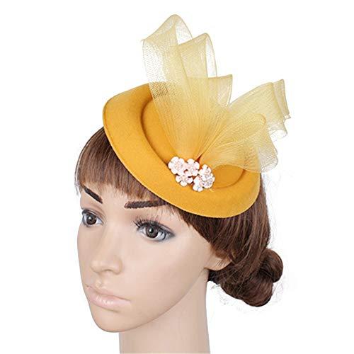 Jklj Pince à Cheveux Coiffe De Plumes Voile Floral de la Femme et Net Hat Net Feather Cheveux Clip Pin Accessoires Cheveux Clip Rétro