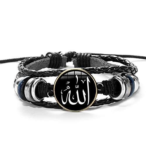 ZFHUAFENG Islamic Symbol Bracelet Adjustable Religious Belief Muslim Wristband Men Glass Charm Bracelet Unisex Punk Style Cufflink Jewelry Gift,as Shown B