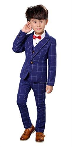 EOZY 4tlg. Jungen Anzug Festlich Kinder Kommunions Hochzeit Anzug Smoking Blau Körpergröße 140