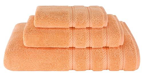 American Soft Linen 3 Piece, Turkish Cotton Premium & Luxury Towels Bathroom Sets, 1 Bath Towel 27x54 inch, 1 Hand Towel 16x28 inch & 1 Washcloth 13x13 inch Malibu Peach