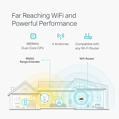 Product Image 1: TP-Link AC2600 WiFi Extender(RE650), Up to 2600Mbps, Dual Band WiFi Range Extender, Gigabit port, Internet Booster, Repeater, Access Point,4×4 MU-MIMO