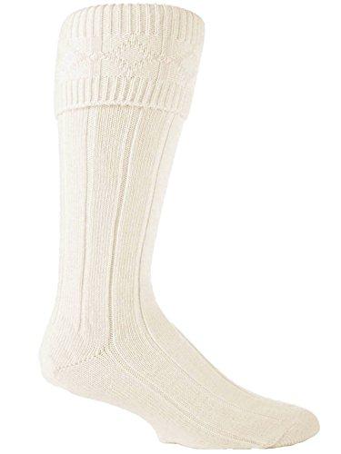 Chaussettes écossaises de kilt pour homme couleur crème