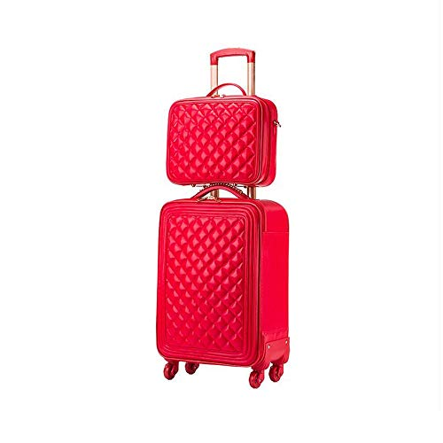 LRHD Portable 4-wheel Carry-on Luggage, PU Leather+polyester Luggage With Aluminum Alloy Tie Rod, 16-24 Inch Waterproof Luggage Suitable for Many Airlines, Business Trip Gifts, Red (Size : 24inches)