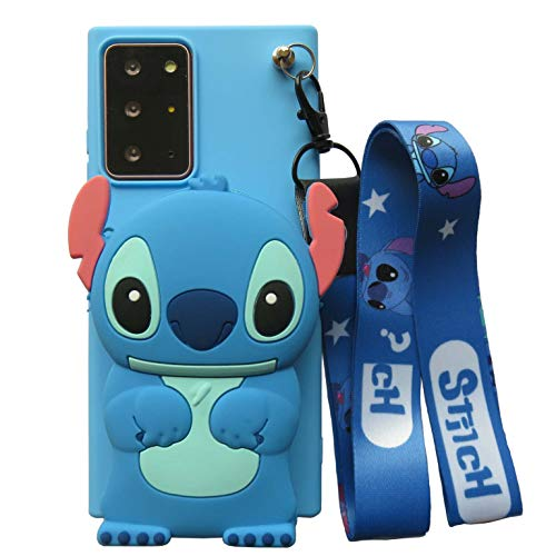 Galaxy Note 20 Silicone Case Cute 3D Cartoon Alien Dog Funny Kawaii Soft Silicone Skin Cases for Girls Teens Kids with Coin Purse and Detachable Necklace for Samsung Galaxy Note 20