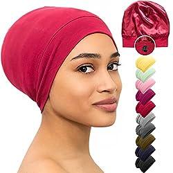 commercial Satin Lined Sleepy Head Beanie Hat Bamboo Headgear Curly Human Hair Nurse Cap (Red) popular hair vendors