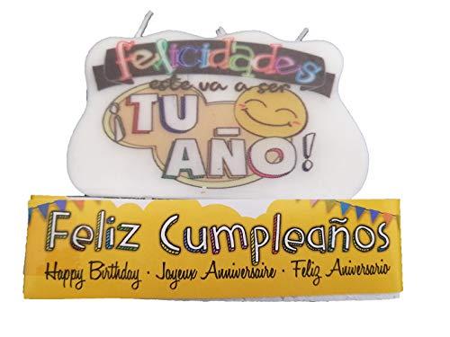 Velas Cumpleaños Grandes Aniversario Emoji Originales (TU AÑO)
