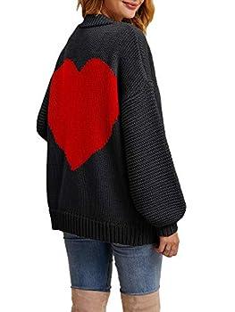 Tutorutor Womens Oversized Love Heart Pattern Print Open Front Cardigan Sweaters Casual Boho Spring Loose Outwear Coat Black Red