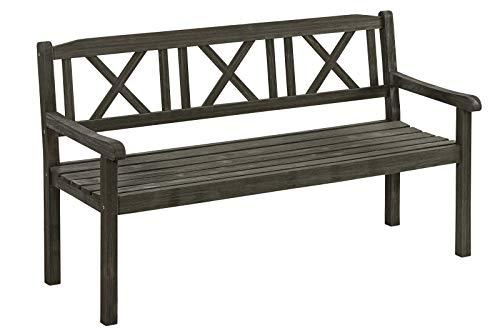 Dehner Gartenbank Malta, 3-Sitzer, ca. 153 x 90 x 61 cm, FSC® Akazienholz, galvanisiert, grau/braun