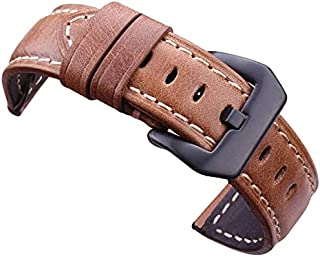 Handmade Leather Band with Black Stainless Steel Buckle for Samsung Galaxy Watch 3 - 45mm - Coffee