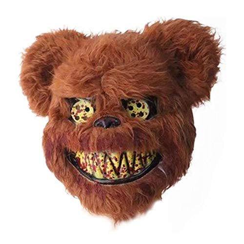 RunkeU Halloween Teddy Bear Maske Halloween Ghost Festival Maske - Masquerade Horror Scary Head Cover Geistermaske Brown Plüschmaske Kind Erwachsene Performance Requisiten