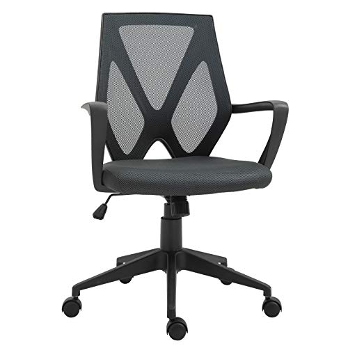 Vinsetto Office Chair Mesh Back w/Armrests Home Computer Chair Adjustable Height Padded Seat Ergonomic Design 5 Wheels 360° Swivel Rocking - Black