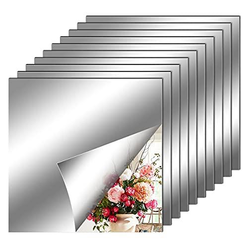 Espejos Autoadhesivos Pared, Hojas de Espejo Flexibles Suaves no de Vidrio Pegatinas de Espejo para Decoración del Hogar, Sala de Estar, Baño, Dormitorio (20 x 20 cm)