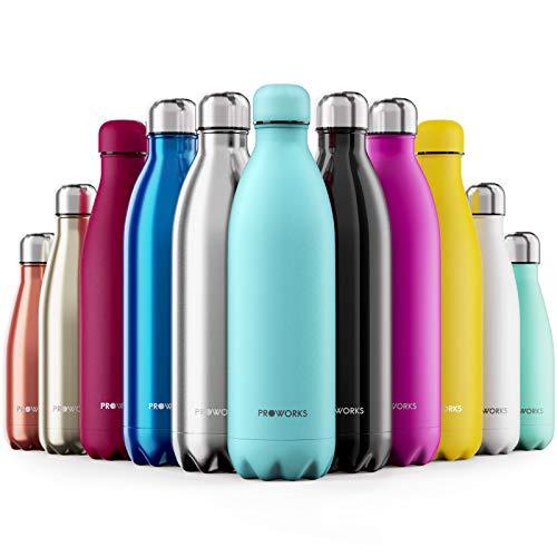 Proworks Edelstahl Trinkflasche | 24 Std. Kalt und 12 Std. Heiß - Premium Vakuum Wasserflasche - Perfekte Isolierflasche für Sport, Laufen, Fahrrad, Yoga, Wandern und Camping - 1 Liter - Pluver Blau
