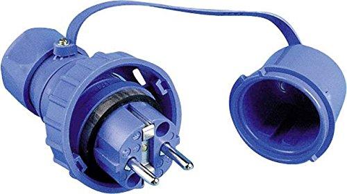 Schutzkontakt Stecker mit Schutzkappe druckwasserdicht blau IP68