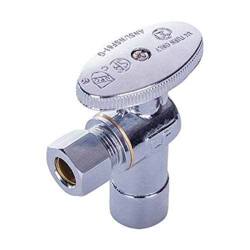 MIDLINE VALVE 81212QS-OM Water Supply Stop Valve with Quarter Turn Wheel; Lead Free; One Piece Design; Angle Shut-off for Toilet, Sink, Dishwasher; 1/2 in. Sweat x 3/8 in. O.D. COMP; Chrome Plated Brass