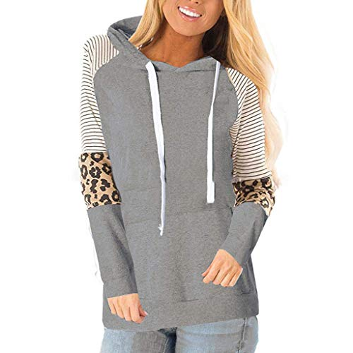 Women's Color Block Long Sleeve Hoodie Pullover Leopard Striped Print Drawstring Sweatshirt Top Gray