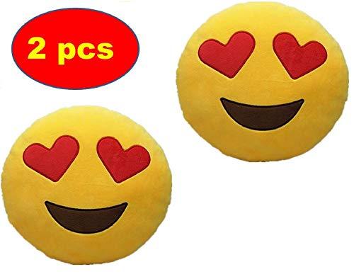 ML Pack 2 x Cojín Emoji Sonrisa, Almohada Emoji Emoticon Relleno Suave Juguete de Peluche