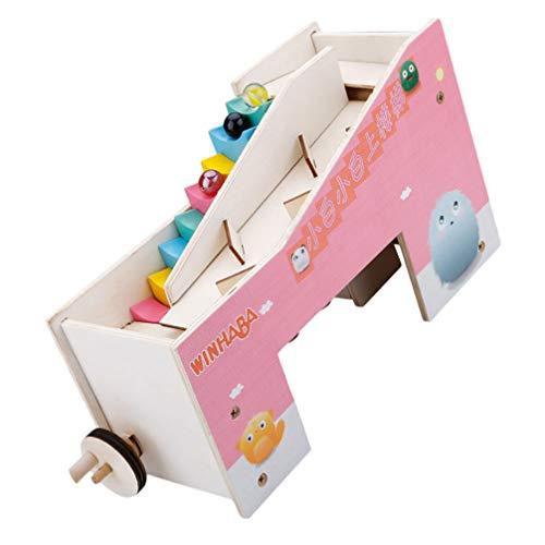 TOYANDONA Cuentas de Madera para Niños Juguetes para Subir Escaleras Cuentas Rodantes de Madera Bloques de Pistas Juguete Juguete de Desarrollo Educativo (Color Aleatorio)