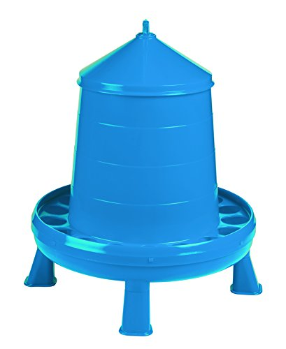 Poultry Feeder with Legs (Blue) - Durable Feeding Container with Carrying Handle for Chickens & Birds (17.5 Lb) (Item No. DT9875)
