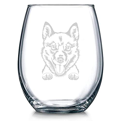 Copa de vino sin tallo de cristal para perro finlandés, vaso de whisky grabado, perfecto para padre, mamá, niño o amiga