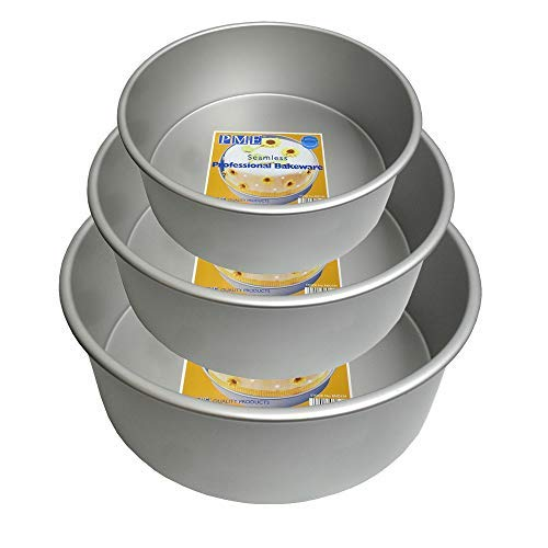 PME 8 10 12 x 3 (lot de 3) Moule rond en aluminium anodisé 20,3 cm, 25,4 cm et 30,5 cm, tous 7,6 cm de profondeur