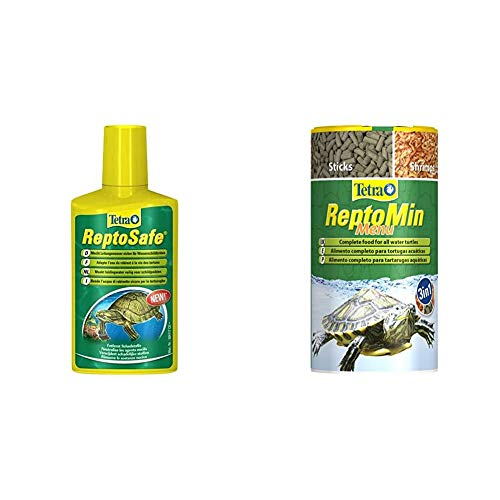 Tetra ReptoSafe Wasseraufbereiter (bereitet Leitungswasser sicher für Wasserschildkröten auf), 250 ml Flasche & ReptoMin Menu Hauptfuttermix (in drei verschiedenen Formen), 1er Pack (1 x 250 ml Dose)