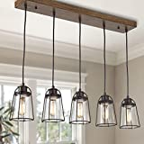 Farmhouse Chandelier, Industrial Pendant Lighting for Kitchen Island, 5-Light...
