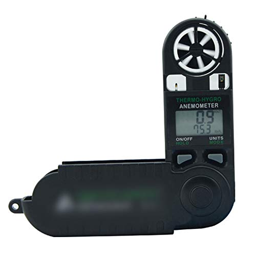 Dingziyue Digital-Anemometer Handwindgeschwindigkeit/Wind Temperatur Tester Windmesser (Color : Black)