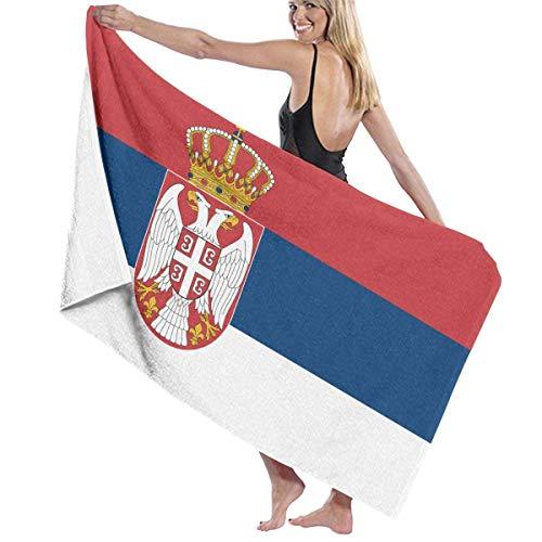 Tcerlcir Strandtuch Badetuch Saunatuch Duschtuch Ultra Leicht Handtuch Schnelltrocknend Saugfähiges Sporthandtuch Flagge von Serbien 130X80cm