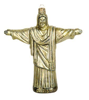 Brazil Rio de Janeiro Statue of Christ Redeemer Mount Corcovado Polish Glass Christmas Tree Ornament Travel Souvenir
