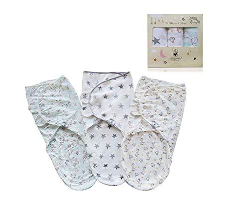 Enveloppe pour bébé nouveau-né Fastique Kids - Enveloppe 100% coton pour bébé - 0 à 3 mois - Couverture pour bébé - Dormir doucement et câlin - Paquet de 3