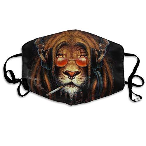 n a Bequeme, winddichte Abdeckung für Nase, Mund und Gesicht, mit Kohlefilter, Rauchen Rasta, Musik, Löwe mit Kopfhörern bedruckt