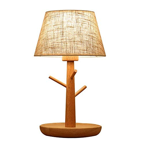 NILINMA Table Lamp, Warm Linen Lampshade, Sturdy Wooden Lamp Body, Large Bedside Reading, Dining, Kitchen, Nightstand Traditional Table Lamps