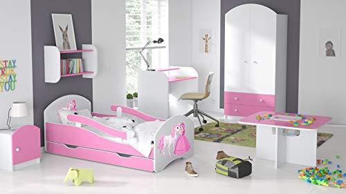 BDW Kinderbett Jugendbett 140 160 180 mit Einer Schublade mit Matratze mit Motiv (180x80cm ROSA)
