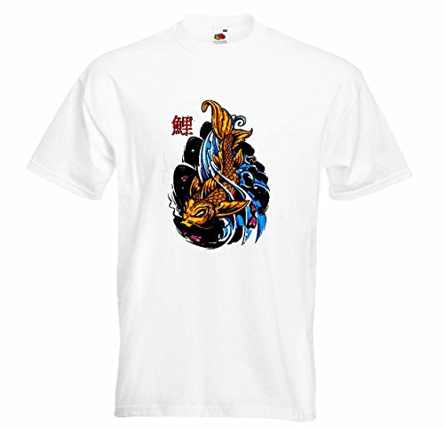 T-shirt Remera Alegres Japonés karpertje van Koi Koikweek decoratie vissen aquarium in wit