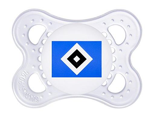 MAM Football Schnuller im 2er-Set, Original Schnuller im Fan Design vom Hamburger Sportverein, zahnfreundlicher Baby Schnuller aus MAM SkinSoft Silikon, 0-6 Monate
