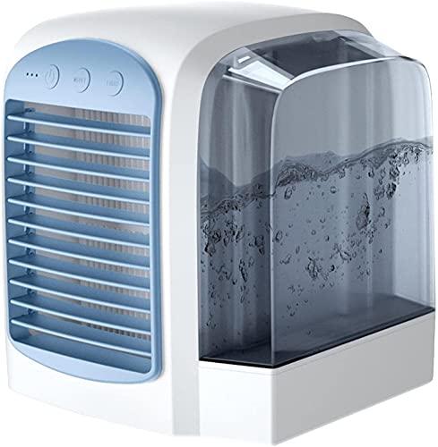 Ventilador de aire acondicionado portátil, ventilador de refrigeración por agua Refrigerador de aire personal Mini acondicionador de aire con 3 velocidades, 7 colores LED ligeros, refrigerador de aire