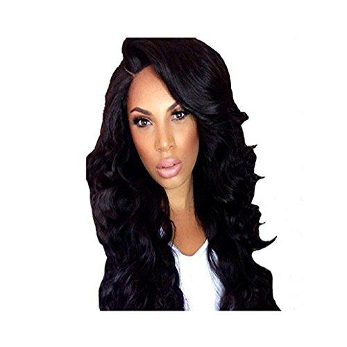 Longlove Naturel Long Black bouclés Big ondulés synthétique Perruque de cheveux humains pour femme noire