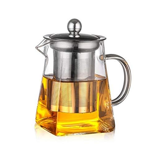 WxberG Tetera de vidrio de 550 ml con infusor extraíble, tetera transparente resistente al calor para té de la tarde floración (tamaño: 550 ml)