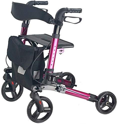 Senioren Tragbare Rollatoren, Mobilität älterer Roll Walker mit Sitz, zusammenklappbare Aluminiumlegierung Gehhilfen 4 Räder höhenverstellbar,Lila