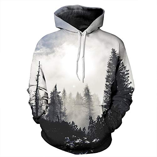 JOMSK Herren Hoodies Pullover Landschaft Digital Printing mit Kapuze Paar Pullover Lose Baseball Uniform (Color : A, Size : L/XL)
