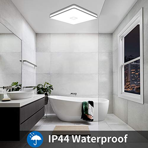 Led Square Ceiling Light Airand 24W 2050LM 12.8in Flush Mount Light Fixture Ceiling Lights Waterproof No Flicker IP44 80Ra+ 5000K Cold White Led Light for Bedroom Kitchen Bathroom(Cold White)