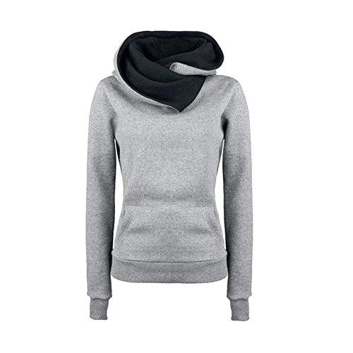 VECDY Damen Pullover,Räumungsverkauf- Herbst Frauen Langarm Hoodie Sweatshirt Pullover mit Kapuze Baumwollmantel Pullover Lässige hohe Kragen warmen Pullover Hoodie(grau,36)