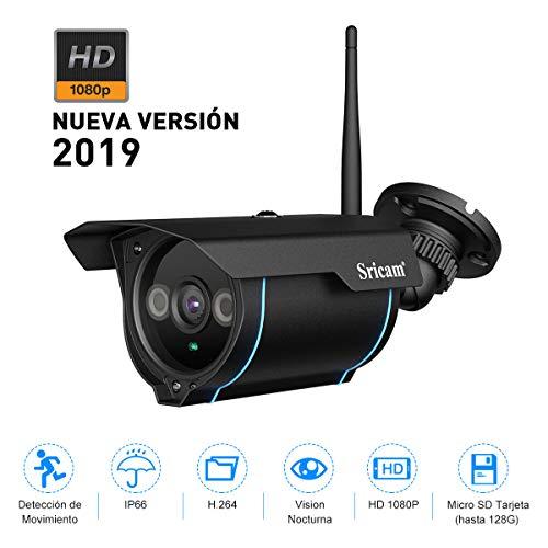 Sricam SP007 1080P HD Cámaras de Vigilancia WiFi Impermeabile para Exterior e Interior Cámara IP CCTV WiFi Soporte Onvif con Visión Nocturna Detección de Movimiento Compatible con iOS y Android, Negro