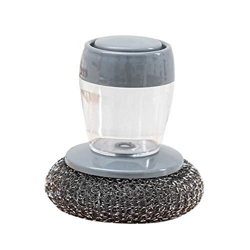 Hopowa Cepillo para Platos Cepillo Redondo, dispensador de jabón Cepillo de Palma Cepillo de Limpieza versátil, Cepillo de Limpieza de Cocina para el hogar con Esponja de Metal