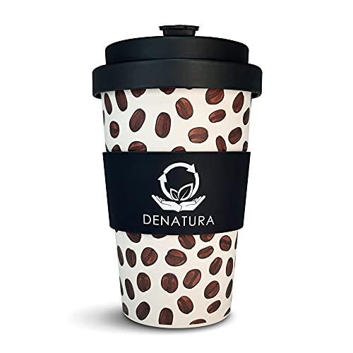DENATURA Bambus Becher   400ml Kaffeebecher verschließbar, wiederverwendbar   Zertifizierter Bambus Coffee-to-go Cup für Kaffee,Tee   Spülmaschinengeeignet, BPA frei
