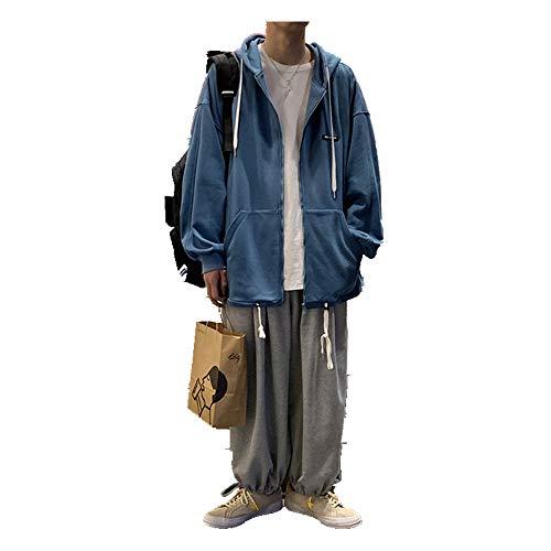 NOBRAND Sweater Cardigan Herren Kapuzen-Bomberjacke Gr. Medium, blau