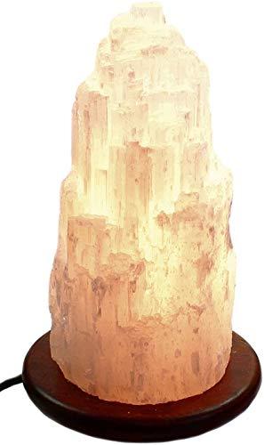 budawi® - Lampe aus Selenit inkl. Sockel Höhe ca. 27 cm, Kaskade Selenit Tischlampe