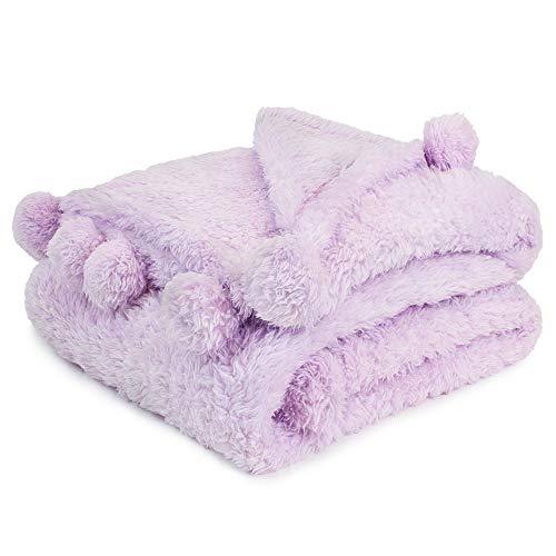 PAVILIA Light Purple Sherpa Throw Blanket for Couch, Pom Pom | Fluffy Plush Soft Blanket for Sofa Bed | Shaggy Warm Fuzzy Fleece Blanket | Cozy Decorative Lavender Lilac Pompom Throw, 50x60