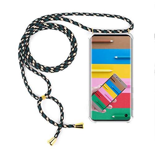 FMPCUON Hülle Handykette Kompatibel mit Samsung Galaxy A8S, Handyhülle Hülle Schutzcase Schutzhülle Necklace Kette - Transparent Silikon Hülle mit Kordel zum Umhängen + Panzerglas Schutzfolie